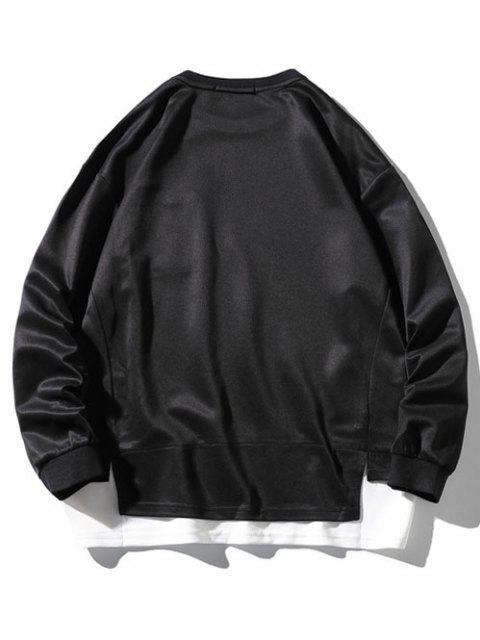 Fallschulter Taschen Sweatshirt mit Seitlichem Schlitz - Schwarz 2XL Mobile