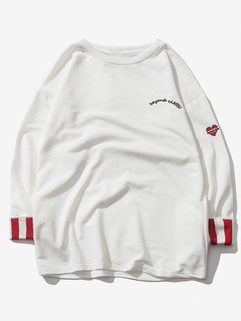 hot Striped Rolled Sleeve Drop Shoulder Sweatshirt - WHITE 4XL Mobile