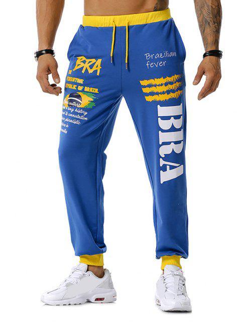 Pantalones Deportivos Cordones Estampado Bandera Brasilero - Azul 2XL Mobile