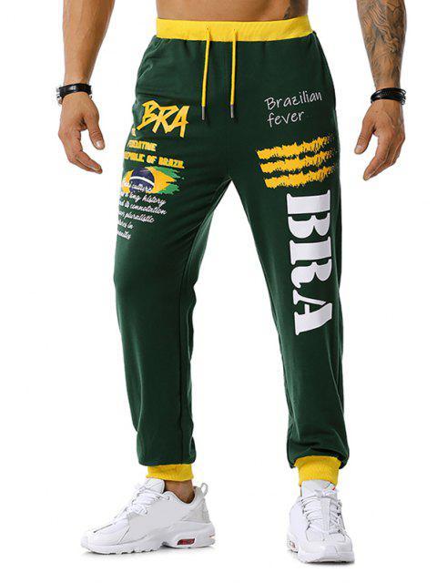 new Brazilian Flag Graphic Print Drawstring Sports Pants - GREEN XL Mobile