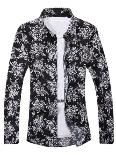 chic Ditsy Floral Pattern Leisure Long Sleeve Shirt - BLACK XL Mobile