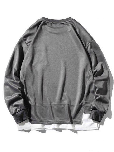 Sweat-shirt à Fente Latérale à Goutte Epaule avec Poche - Cendre gris 4XL Mobile