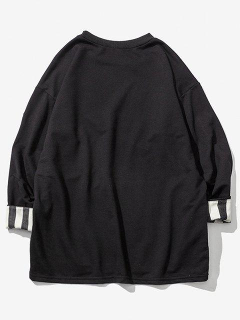 Striped Rolled Sleeve Drop Shoulder Sweatshirt - أسود L Mobile