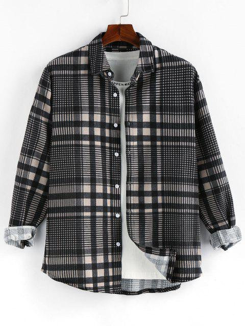 best ZAFUL Plaid Long Sleeve Button Up Shirt - GRAY S Mobile
