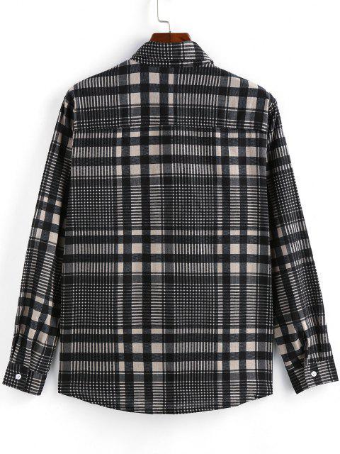 hot ZAFUL Plaid Long Sleeve Button Up Shirt - GRAY XL Mobile