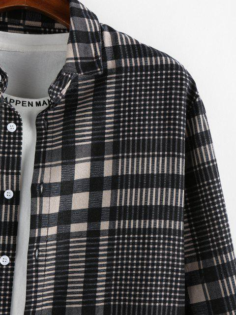 outfit ZAFUL Plaid Long Sleeve Button Up Shirt - GRAY 2XL Mobile