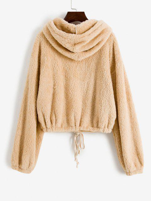 ladies Plush Drop Shoulder Half Zip Hoodie - LIGHT COFFEE M Mobile