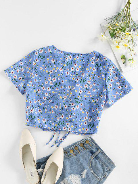 fashion ZAFUL Ditsy Print Tie Front Plunging Crop Blouse - DEEP SKY BLUE M Mobile