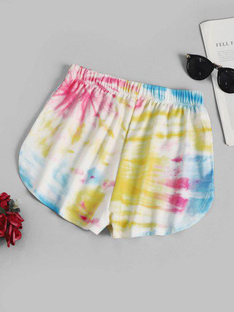 unique Tie Dye Dolphin Sweat Shorts - YELLOW M Mobile