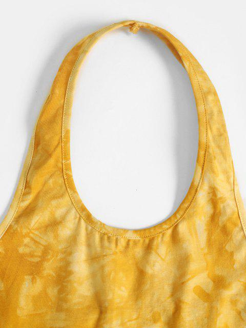 women's Halter Open Back Tie Dye Crop Top - YELLOW S Mobile