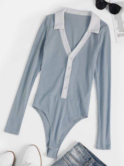 sale Two Tone Ribbed Snap Crotch Bodysuit - LIGHT BLUE S Mobile