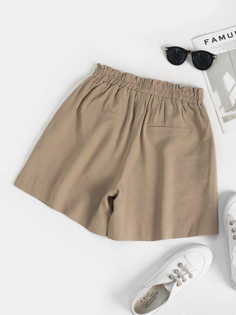 fancy Ruffle High Waisted Pocket Loose Shorts - LIGHT COFFEE L Mobile