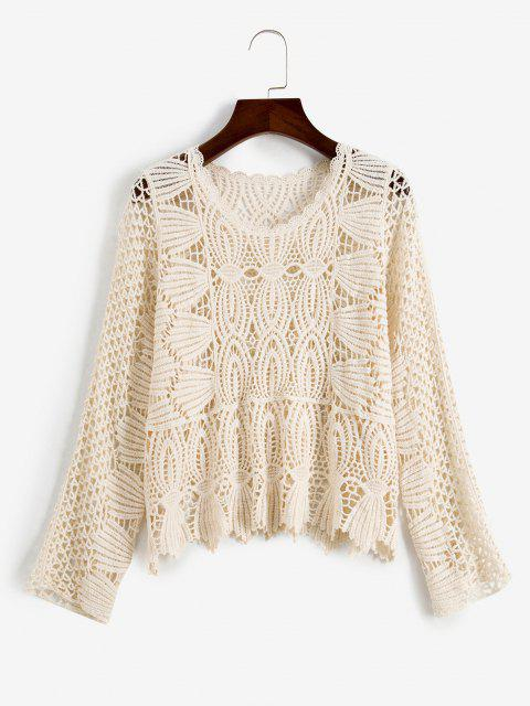 lady Openwork Crochet Crop Top - WHITE ONE SIZE Mobile
