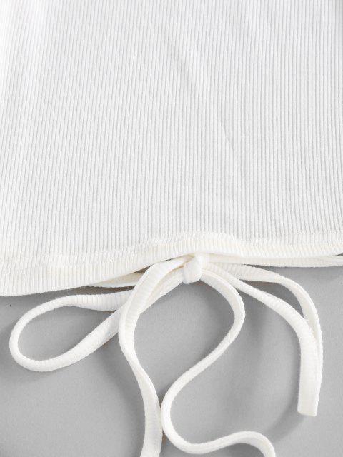 ZAFUL T-shirt en Tricot Auto-Noué Ouvert au Dos - Blanc XL Mobile