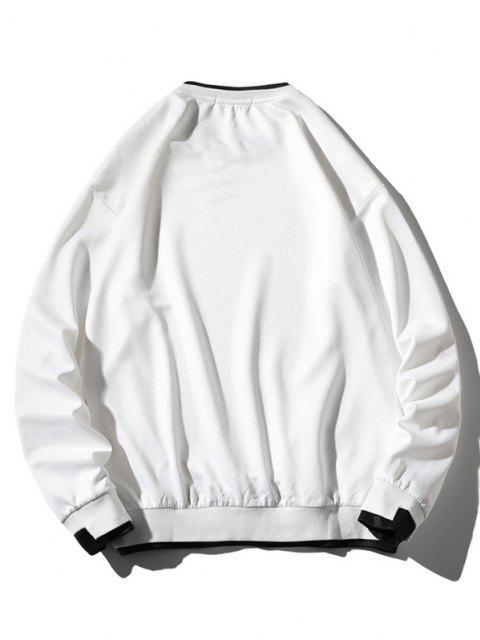 Sweat-shirtLettreApplique à Goutte Epaule Fausse Deux Pièces - Blanc 3XL Mobile