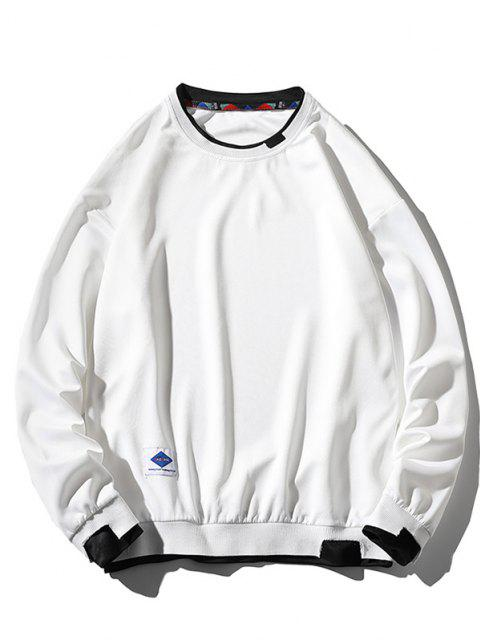 affordable Letter Applique Drop Shoulder Faux Twinset Sweatshirt - WHITE XL Mobile