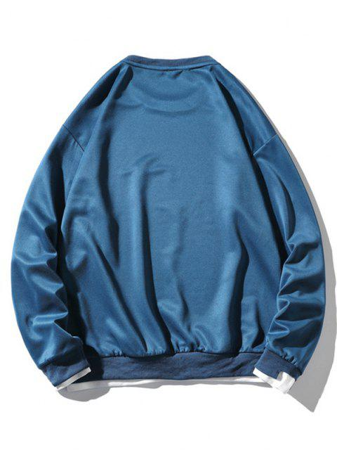hot Letter Applique Drop Shoulder Faux Twinset Sweatshirt - PEACOCK BLUE L Mobile
