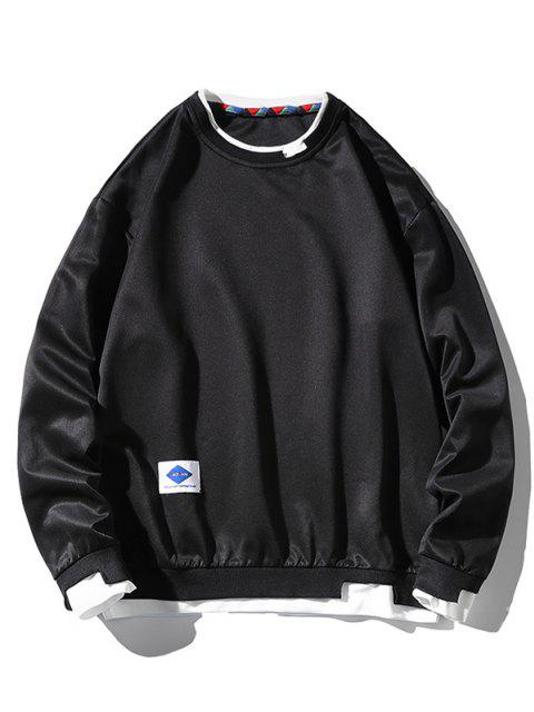 Sweat-shirtLettreApplique à Goutte Epaule Fausse Deux Pièces - Noir 4XL Mobile
