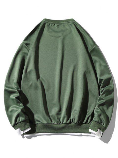 Buchstabe Applikation Hängender Schulter Künstliche Twinset Sweatshirt - Meergrün 3XL Mobile
