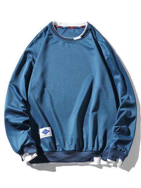 fancy Letter Applique Drop Shoulder Faux Twinset Sweatshirt - PEACOCK BLUE XL Mobile