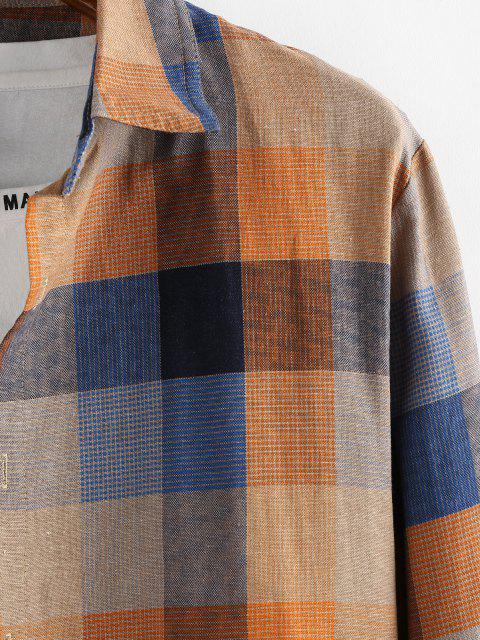 Kariertes Muster Knopf Langarm Hemd - Hell orange 2XL Mobile