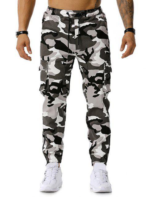 La impresión de Camo Multi-bolsillo del cargo del lápiz de los pantalones - Gris L Mobile