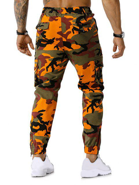 Camo Print Multi-pocket Cargo Pencil Pants - Orange 2XL Mobile