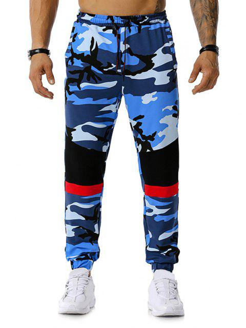 Colorblock Camo Print Drawstring Jogger Pants - Blau S Mobile