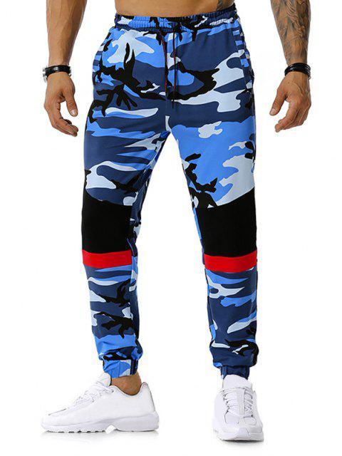Colorblock la impresión de Camo del lazo del basculador de pantalones - Azul M Mobile