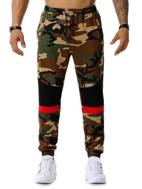 Colorblock la impresión de Camo del lazo del basculador de pantalones - Ejercito Verde M Mobile
