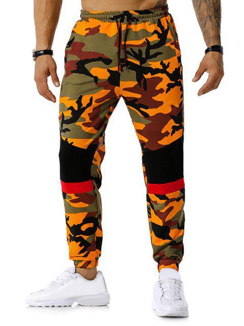 Colorblock la impresión de Camo del lazo del basculador de pantalones - Naranja S Mobile