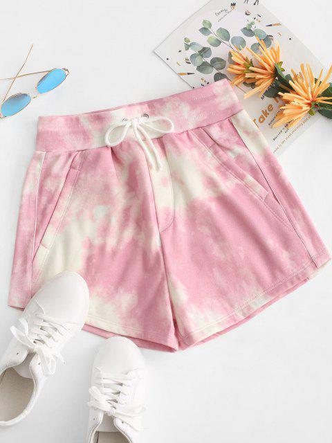 latest Tie Dye Fleece Lined Drawstring Shorts - PINK M Mobile