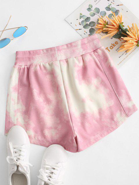 Pantaloncini Foderati in Pile di Tie-Dye con Coulisse - Rosa L Mobile