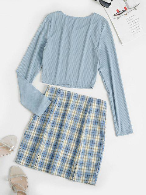 outfits Crop Tee and Plaid Mini Skirt Set - LIGHT BLUE L Mobile