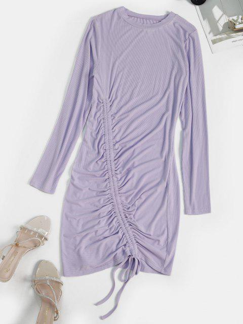 fashion Cinched Mini Bodycon Dress - LIGHT PURPLE XL Mobile