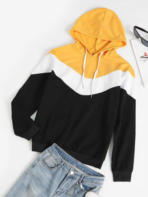 online Long Sleeves Colorblock Pullover Hoodie - YELLOW S Mobile