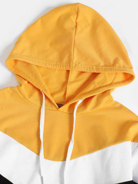 Moletom de Pulôver de Bloco de Cores Mangas Compridas - Amarelo L Mobile