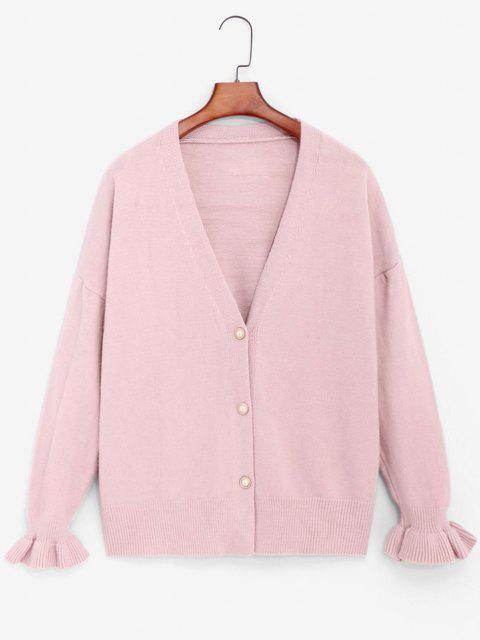 women's Slouchy Ruffled Cuffs Cardigan - LIGHT PINK ONE SIZE Mobile