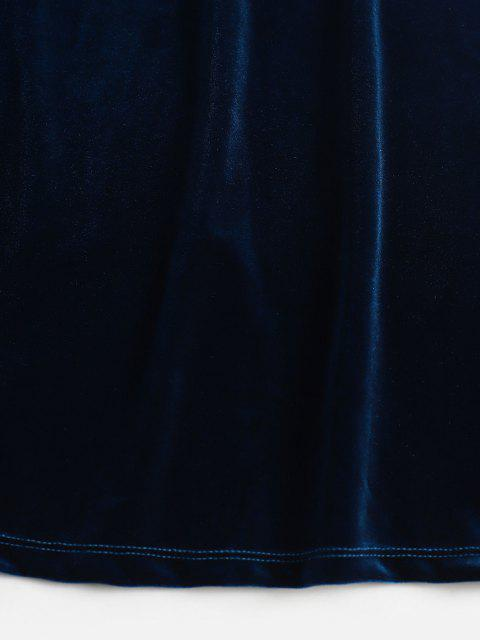 ladies High Rise Velvet Slit Skirt - DEEP BLUE S Mobile