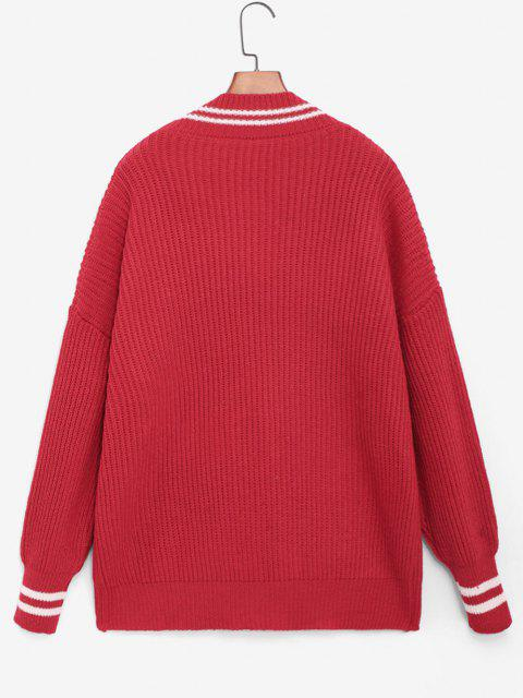 new Striped Detail Cricket Tunic Cardigan - RED ONE SIZE Mobile
