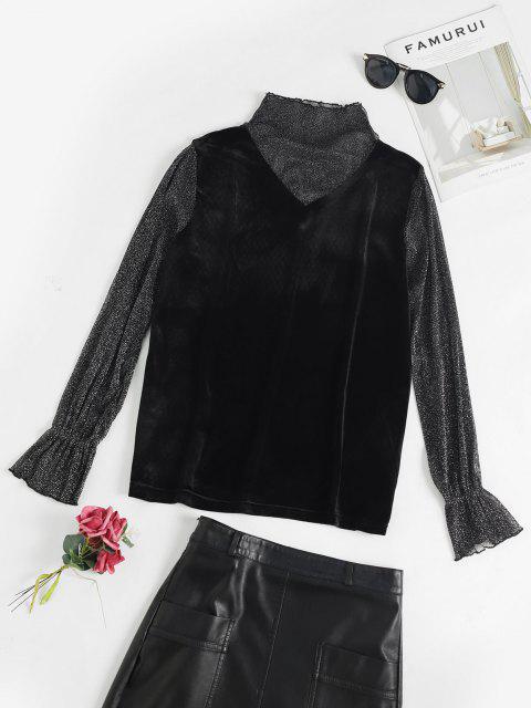 chic Flare Sleeves Velvet Mesh Panel T Shirt - BLACK M Mobile