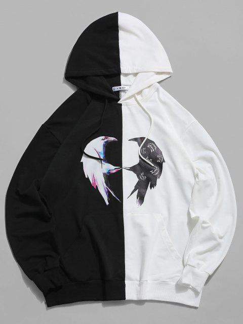 shop ZAFUL Two Tone Bird Print Hoodie - MULTI S Mobile