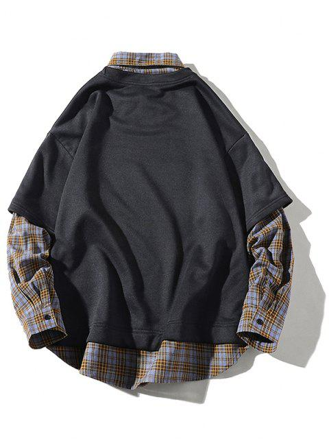 Sweat-shirt Panneau à Carreaux à Goutte Epaule 2 en 1 - Cuirassé Gris 3XL Mobile