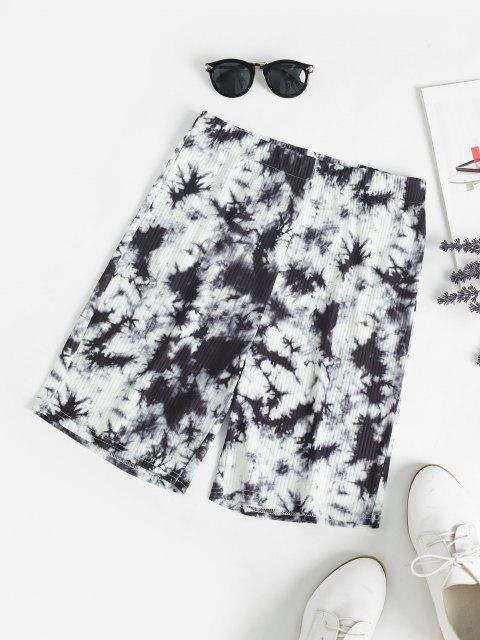 affordable High Rise Tie Dye Bike Shorts - BLACK L Mobile