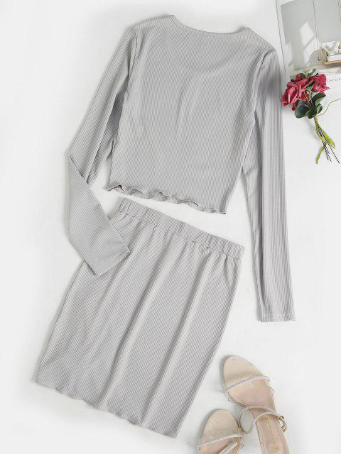 trendy ZAFUL Mock Button Cinched Ribbed Skirt Set - LIGHT GRAY L Mobile