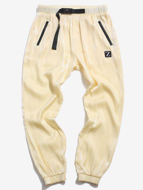 ZAFUL Pantalones de Parche de Cintura Elástica de Letras - Amarillo S Mobile