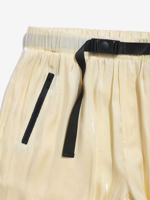 best ZAFUL Letter Patch Elastic Waist Beam Feet Pants - YELLOW 2XL Mobile