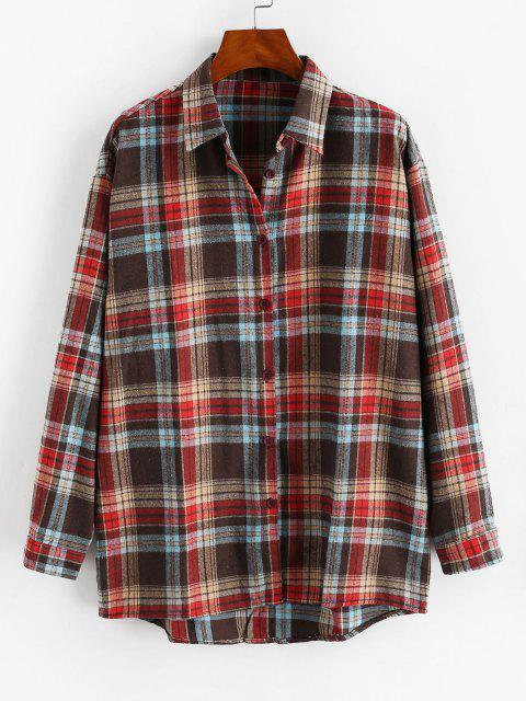 fashion Plaid Button Up Drop Shoulder Shirt - MULTI M Mobile