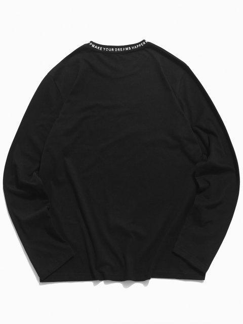 ZAFUL Letter Print Long Sleeve Slogan T-shirt - أسود 2XL Mobile