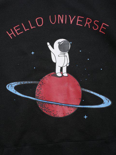 sale ZAFUL Planet Astronaut Print Graphic Hoodie - BLACK M Mobile